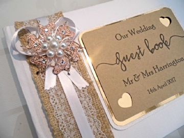 Rose Gold & White Wedding Guest Book